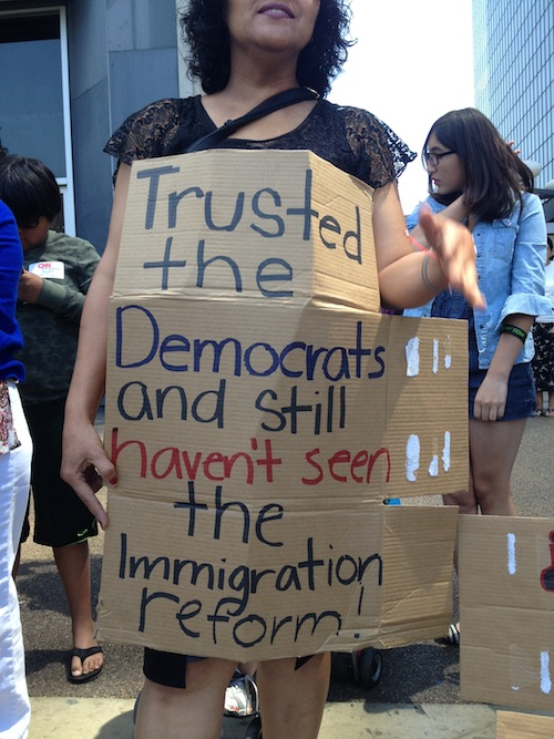 Public Demonstration at LA County Democratic Party Headquarters to urge legal relief to law abiding - tax paying undocumented immigrants