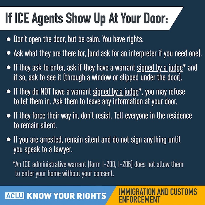 What to do if ICE Agents show up at your door.