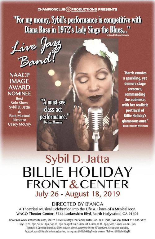 BILLIE HOLIDAY:FRONT AND CENTER BEGINS JULY 26 AT WACO THEATER CENTER IN NORTH HOLLYWOOD